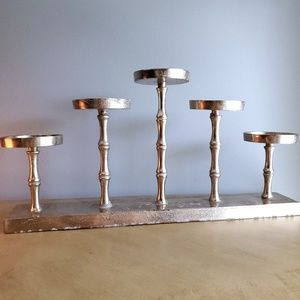 """Other - Large Candle Holder 19""""Lx3""""Wx10""""H Silver Bamboo"""